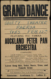 Grand dance, Gaiety Theatre, Paeroa, Tues Feb 13th, featuring the famous Auckland Peter Pan Orchestra ... These artists feature the latest song hits, solos, duets, trios and comedy items. C F Oliver, Printer, Tauranga [1940 or 1945].