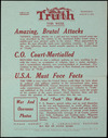 """N.Z. Truth :Circular. NZ Truth this week. Wednesday, August 6, 1941. Amazing brutal attacks; C.O. court-martialled; U.S.A. must face facts. Printed and published by Neil Tonks, 28 Austin Street, Wellington, for """"Truth"""" (N.Z.) Ltd., at the registered office of the Company, Austin House, Wakefield Street, Wellington, New Zealand."""