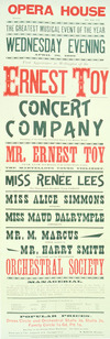 Opera House [Wellington] :Ernest Toy Concert Company ... Wednesday evening, April 26, 1899. Printed at the Evening Post Office, Willis Street, Wellington [1899]