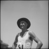 C J McCalman, winner of the three mile race at NZ Division Athletics Championships, Cairo, Egypt, World War II - Photograph taken by George Kaye