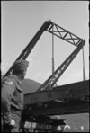 Hoist used by American and NZ engineers to remove section of treadway on the Cassino Front, Italy, World War II - Photograph taken by George Kaye
