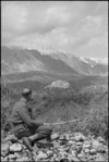 View looking towards the mountains past a village in the Volturno Valley, Italy, World War II - Photograph taken by George Kaye