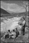 New Zealanders resting near the forward areas of the Italian Front view the Volturno River, World War II - Photograph taken by George Kaye