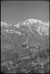 Looking towards snowclad mountains above the village of San Vincenzo on the Italian Front, World War II - Photograph taken by George Kaye