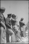 Prime Minister Peter Fraser and General Bernard Freyberg survey countryside from the top of Monastery Hill, Cassino, Italy, World War II - Photograph taken by George Kaye
