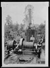 Steam log hauler, and workers for Ballingall and Bartholomew, Hautapu, Hawke's Bay