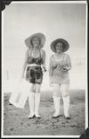 Eileen Powles and friend on the beach, Samoa