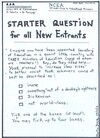 Doyle, Martin, 1956- :'Starter question for all New Entrants...' 29 October 2012