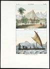 Artist unknown :Australia. Morai e luoghi di sepoltura; Piroghe dell'Isola Mandana. Tav. 88, Tom III [1841]