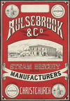Aulsebrooks & Company :Aulsebrook & Co. Steam biscuit manufacturers. Gold medal awarded to Aulsebrook & Co. Christchurch. New Zealand International Exhibition 1882. Whitcombe & Tombs Limited litho [1880s]