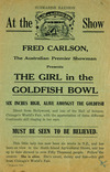 Submarine illusion. At the Show, Fred Carlson, the Australian Premier Showman presents The Girl in the Goldfish Bowl, six inches high, alive amongst the goldfish. Must be seen to be believed. / Stiles & Co. - 76304 [1935 or 1955?]