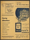 Hayward's Avondale. Talkie programmes. Programmes for the month. Wright & Jaques Ltd, 52 Albert Street [Auckland. Programme card for 11 October - 3 November 1938].