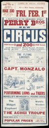Perry Bros new circus and zoo; a revelation in the amusement world! Coming by special steamer for a short season, commencing Fri[day] Feb[ruary] 1st [1929]. 1928 season. J J Miller Ptg Co Pty Ltd, Melb[ourne].