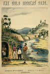 Theton, I. Wai [I weigh the ton, pseudonym] :[Three gold miners standing by a stream, ca 1868]. Del I. Wai Theton, J. D. Schmidt litho. Auckland. [1868?]