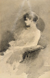 Hodgkins, Isabel Jane 1867-1950 :[Profile of a seated lady] / S.H. - [ca 1890]