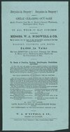 """W A M'Dowell & Company :Bargains in drapery! Great clearing out sale at the premises late Mr A Manoy's grocery warehouse, Shakespeare Road, Napier. Messrs W A M'Dowell & Co beg to announce that the whole of their stock-in-trade, amounting to over four thousand pounds worth of drapery, clothing and boots ... has been removed ... for the convenience of sale. ... Saturday January 6, 1877. Printed at the """"Daily telegraph"""" office, Tennyson Street, Napier [1877]."""