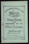 Canterbury Jockey Club: Spring meeting 1890. Canterbury Cup Day. Official programme [Front cover. 1890]