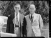 South African sculler I R G Stephen with another man, 1950 British Empire Games rowing camp, Karapiro