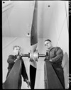Workmen and propeller at Woodbourne Air Force Base, Blenheim