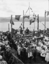 Part 1 of a 2 part panorama depicting a ceremony held at Roseneath School, Wellington