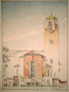 Wood, Cecil Walter, 1878-1947 :Proposed Wellington Cathedral. Hill Street. elevation. C. W. Wood, Architect,April 1941.