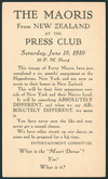 Press Club of San Francisco :The Maoris from New Zealand at the Press Club, Saturday June 18, 1910, 10 p.m. sharp. ... What is the Maori dance? Yes! What is it? Postal card [posted] San Francisco, Jun 17 [1910]