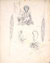 [Angas, George French] 1822-1886 :An aged slave woman - Pouketuti [in the interior beyond Mokau]; ornamental paddle[s] belonging to Te Heuheu, the principal chief of Taupo Lake; A child at Te Rapa, Taupo Lake; [and] meri meri of Taupo [1844]