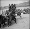 Start of race at race meeting of 36 NZ Survey Bty in Trans Jordania, World War II - Photograph taken by M D Elias