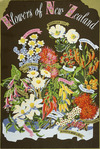 Artist unknown :Flowers of New Zealand. [Brown background. 1930s?]