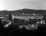 Wellington Harbour area with the Overseas Passenger Terminal, the royal yacht Britannia, and Herd Street