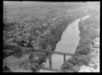 Hamilton City and the Waikato River with rail-bridge, Waikato Region
