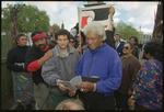 Ken Mair and Niko Tangaroa with eviction notice at Moutoa Gardens, Wanganui, New Zealand