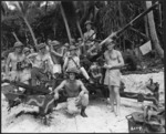 World War 2 New Zealand troops, with their ack ack gun, Nissan Island, Papua New Guinea