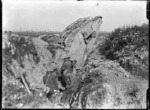 New Zealand troops, and a tank, in a trench at Gommecourt Wood, France, during World War 1