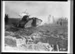 New Zealand tank going into action near Messines, Belgium, during World War 1