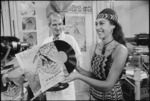 """Carol Cunningham promoting the newly produced record """"Haere Mai""""."""