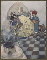 Whereupon one upset the pan into the fire. Arabian nights.
