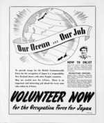 Our ocean and our job. Volunteer now for the Occupation Force for Japan.  [ca 1946].