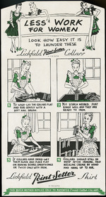 Lichfield Shirts :Less work for women; look how easy it is to launder these Lichfield Point-Setter collars. R.T.M. 32715. [1940-1950s].