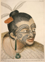Parkinson, Sydney, 1745-1771 :The head of a chief of New Zealand, the face curiously tataow'd, or marked according to their manner. S. Parkinson del. T. Chamber sc. London, 1784. Plate XVI.