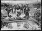 World War I soldiers of 3rd Battalion, New Zealand Rifle Brigade, at Clapham Junction, Belgium