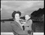 Mrs H Williamson and her son, passengers on first TEAL Solent flying boat flight from Sydney to Wellington