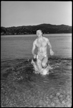Peter Jamieson, after his successful winter swim to win rugby test tickets