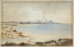 Artist unknown  :[The Southern Alps from the mouth of the Taramakau River, after Charles Heaphy. ca 1867.]