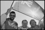 Climbers, Rob Hall, Peter Hillary,and Gary Ball at Wellington Airport - Photograph taken by John Nicholson