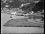 Work underway on TEAL flying boat base reclamation, Evans Bay, Wellington