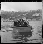 School children returning to the Evans Bay Yacht Club after a visit to the TEAL Solent flying boat Awatere