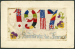 1917 Souvenir de France. [Embroidered postcard to Olive McDuff from Lance/Sgt Walter Henry Saunders].