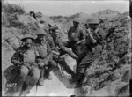 Some New Zealand officers in the front line at Gommecourt Wood in World War I