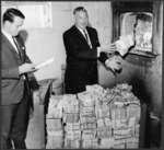 Sterling bank notes being destroyed, Wellington, New Zealand